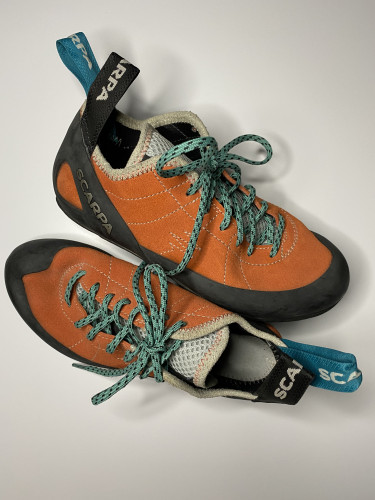 Scarpa Climbing shoes worn once. Brand new condition.  No scuffs