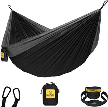 Wise Owl Outfitters Single Owl Hammock in black and light grey