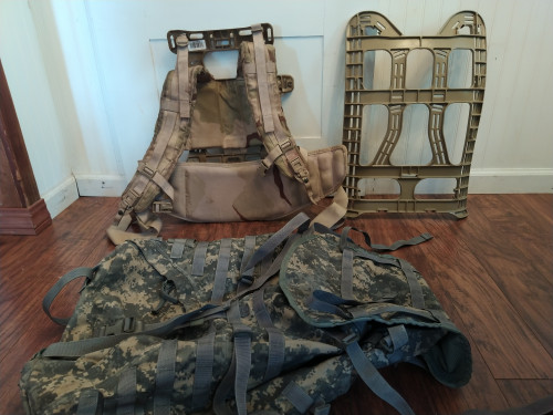 2 packframes: MOLLE 1606 & 1603  with large Military Ruck