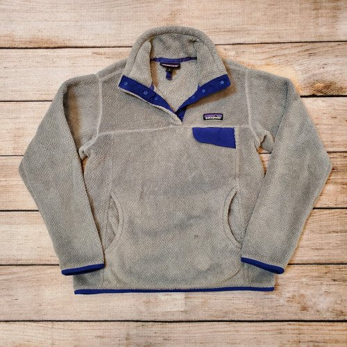 Women's Patagonia Grey Blue Re-Tool Snap-T Fleece Pullover