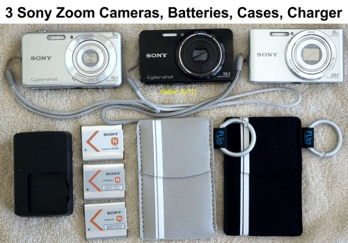 3 Sony Zoom Digital Cameras, Batteries, Cases, Charger - EUC!