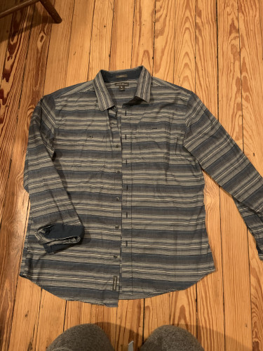 Men's Long Sleeve Button Down Classic Fit- Blue striped print- L
