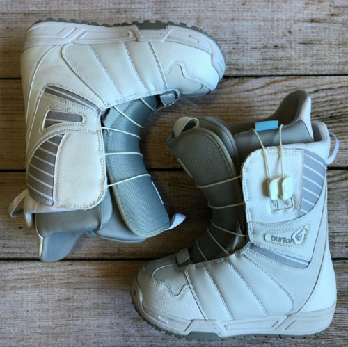 Women's Burton White & Grey Leather Mint Snowboard Boots