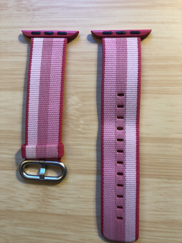 Genuine Apple Woven Nylon Watch band 38mm color is pink stripe
