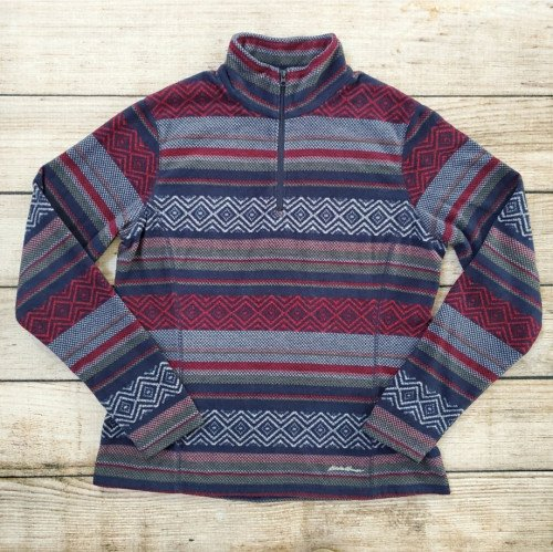 Women's Eddie Bauer Navy Red Green Striped 1/4 Zip Fleece
