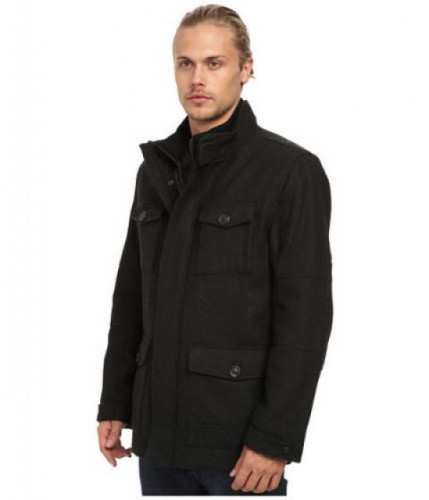 Marc-New-York-Andrew-Marc-Travis-Wool-Blend-Military Jacket BlK MENS S