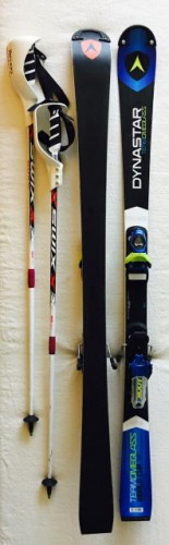 Jr Dynastar Slalom 139cm Race Skis & Look Bindings (+ free SL poles)