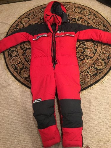 Feathered Friends 8000 m down suit in perfect condition.