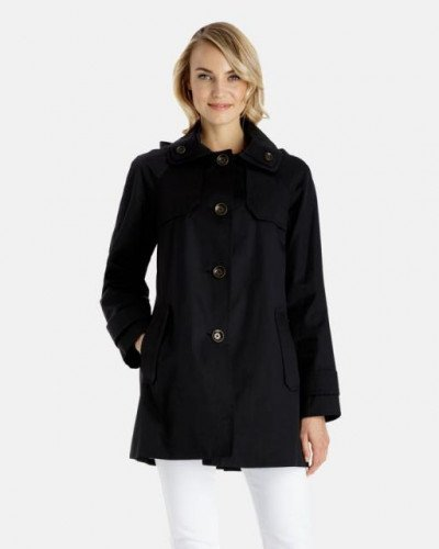 London Fog Jodi Walker Raincoat - Detachable Hood XS Black