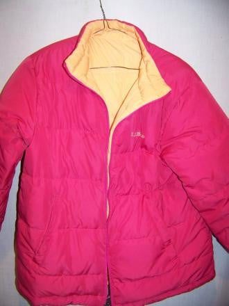 LL Bean Reversible Down Puffy Jacket Youth L 14-16