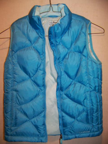 LL Bean Down Vest, Girls Medium 10-12