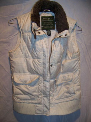 Eddie Bauer Down Vest, Faux Fur Collar, Women's Small