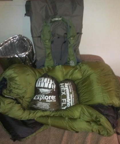 Ultralite Gear - Hennesy Hammock, JRB Top Quilt, Pack, and Radiant Pad
