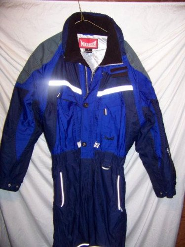 Marker Insulated Blue One Piece Snow Ski Suit, Men's Medium