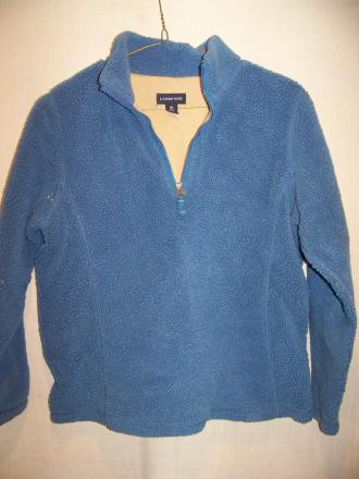 Lands End Fleece Pullover Sweater Jacket Med 10-12
