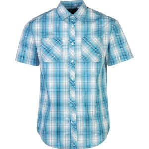Garment Washed Plaid Shirt - Short-Sleeve - Men's Blue, L - Like New