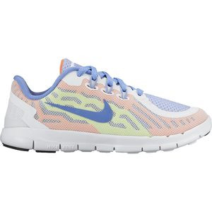 Free 5 Running Shoe - Little Girls' White/Volt/White/Chalk Blue, 2.0 -
