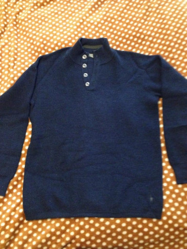 NEW Smartwool Navy Button Collar Heavy Weight Sweater